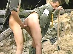 Tight anal sex with cumshot on war