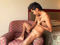 Lonely young stud wanks his penis off and cums all over!