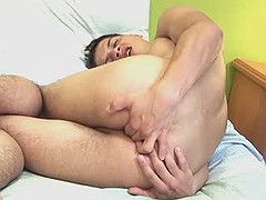 Amazing brunette twink gets orgasm solo on the bed