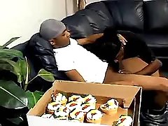 Hot black gay greedily sucks chocolate cock
